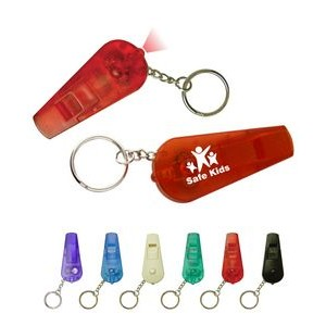 Safety Whistle w/Red LED Light Key Chain