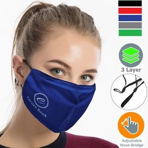 Performance 3 Layers Face Mask w/ Nose Bridge, adjuster loop